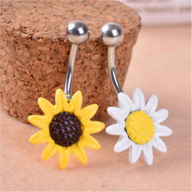 Fun Body Piercing Jewelry Sun Flower Stainless Steel Belly Button Ring - 2 Colors