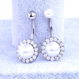Elegant Pearl Button Ball Belly Button Ring Jewelry - 3 Styles