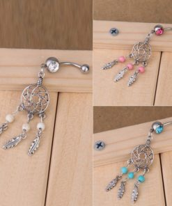 Sexy Fashion Crystal Dream Catcher Dangle Belly Button Ring For Women - 3 Colors