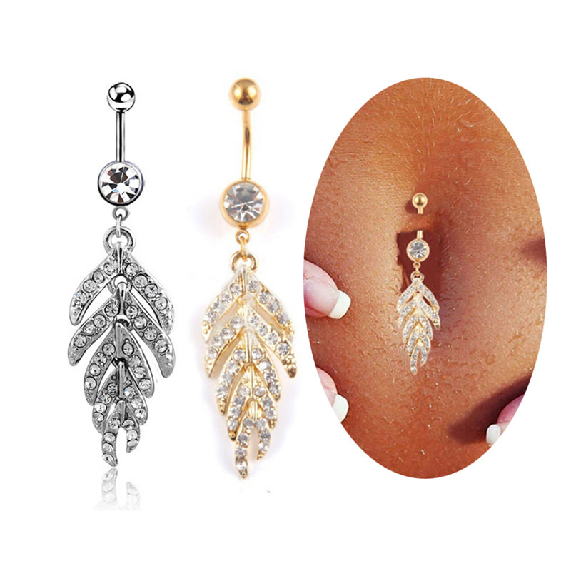 Exquisite Women Body Piercing Jewelry Crystal Studded Leaf Feather Dangle Navel Stainless Ring - 2 Colors