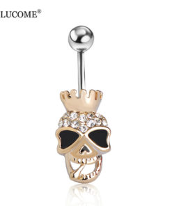 Black Enamel Crowned Skull Body Jewelry Piercing Navel Ring