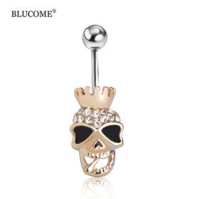 Black Enamel Crowned Skull Body Jewelry Piercing Navel Ring