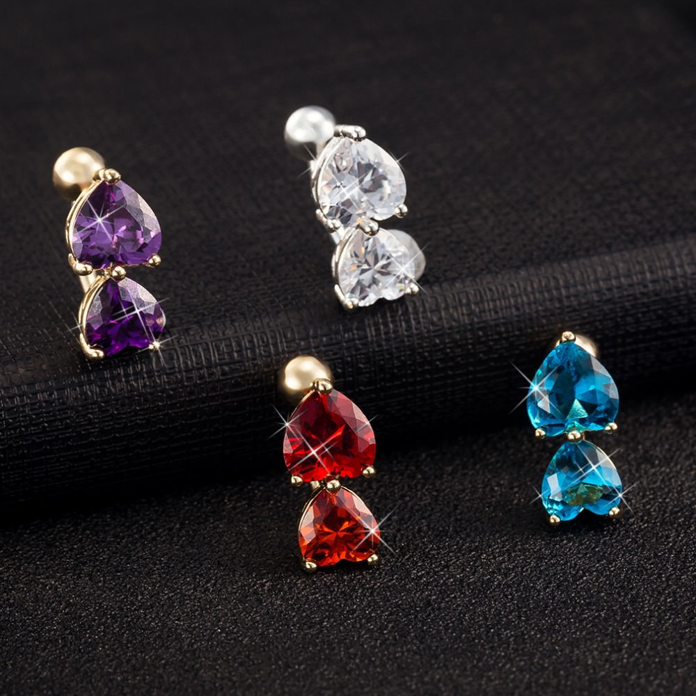 Big Double Hearts Zircon Gem Navel Ring - 4 Colors