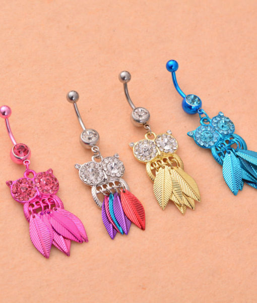 Dazzling Body Piercing Jewelry Crystal Owl Dangle Belly Button Ring For Women - 4 Colors