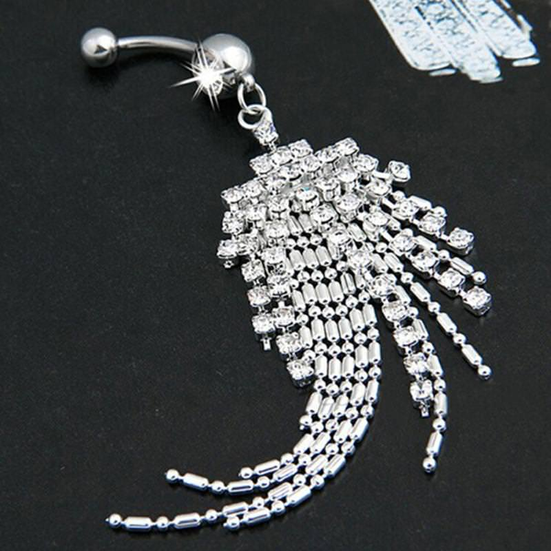 Women Body Piercing Jewelry Navel Ring With Luxurious Crystal Chain Tassels