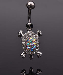 Cute Rhinestone Crystal Turtle Body Piercing Navel Ring