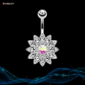 Dazzling Crystal Sunflower Petal Navel Piercing Silver Ring