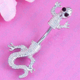 Crystal Jeweled Lizard Style Silver-Tone Navel Ring - 6 Styles