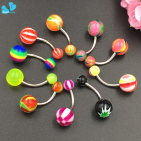 Fabulous 3-Pieces Candy Color Acrylic And Surgical Steel Navel Ring Set