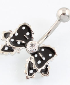 Cute Polka Dot Ribbon Bow Navel Piercing Ring Jewelry For Women - 4 Colors