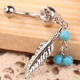 Women Sparkling Feather Pendant Belly Button Ring Body Piercing Jewelry