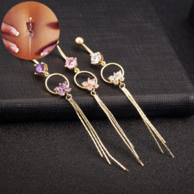 Stunning Women Butterfly Zirconia Gem Belly Button Ring Tassels Body Piercing Jewelry - 3 Colors