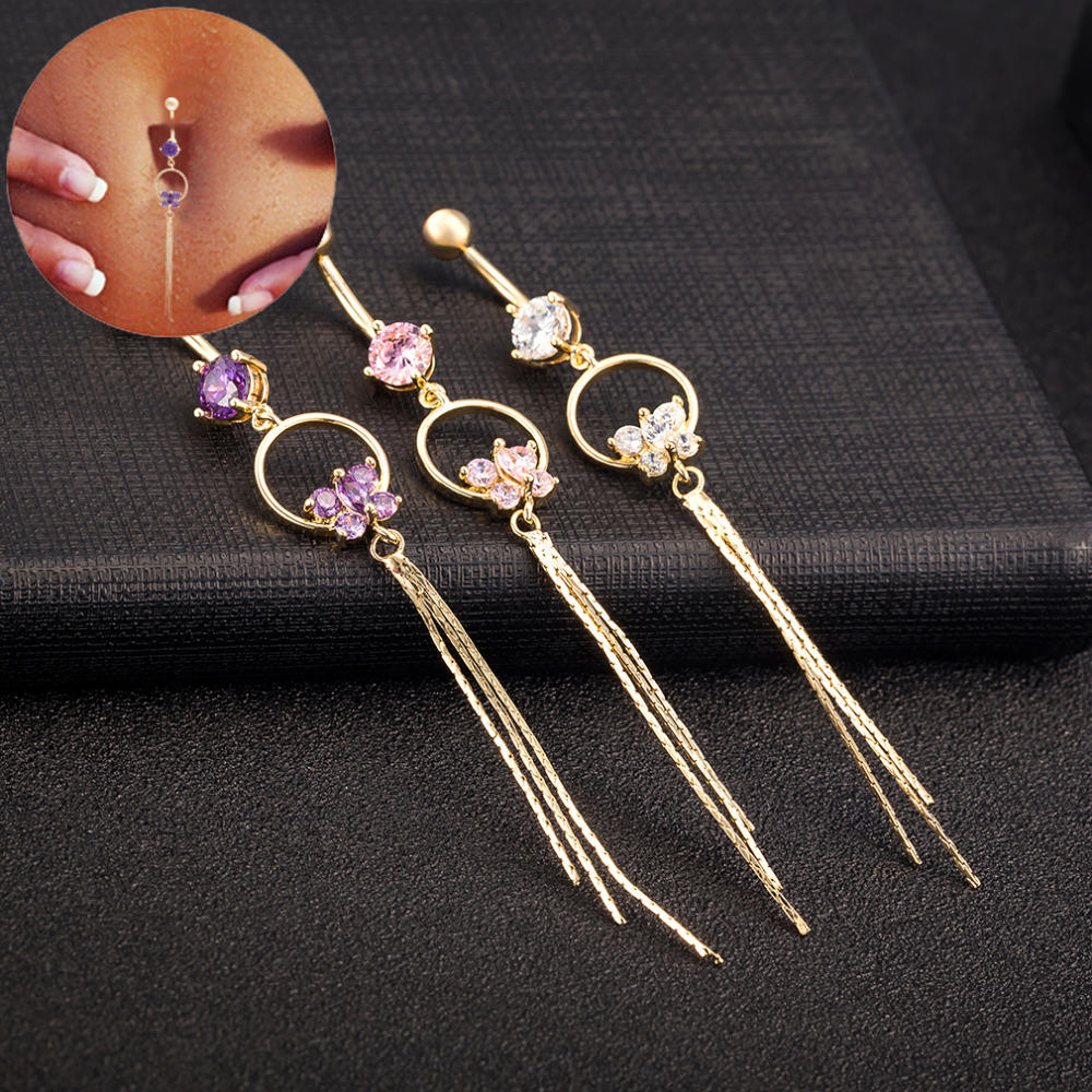 Stunning Women Butterfly Zirconia Gem Belly Button Ring Tassels Body Piercing Jewelry - 3 Colors
