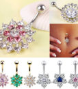Women Body Piercing Jewelry Rhinestone Flower Belly Button Navel Ring - 8 Styles