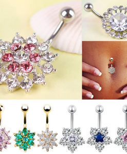 Women Body Piercing Jewelry Rhinestone Flower Belly Button Navel Ring - 8 Styles