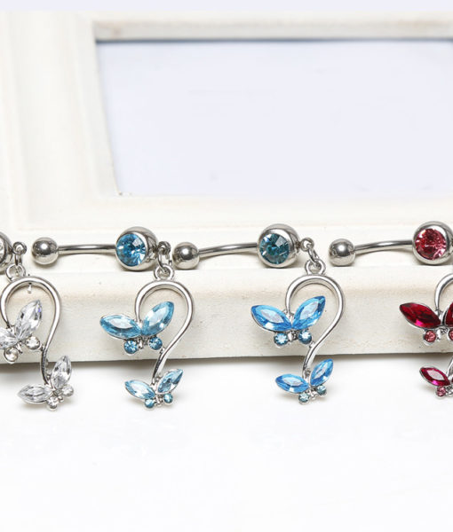 Women's Beautiful Butterfly Body Piercing Jewelry Navel Belly Button Dangling Ring - 4 Colors