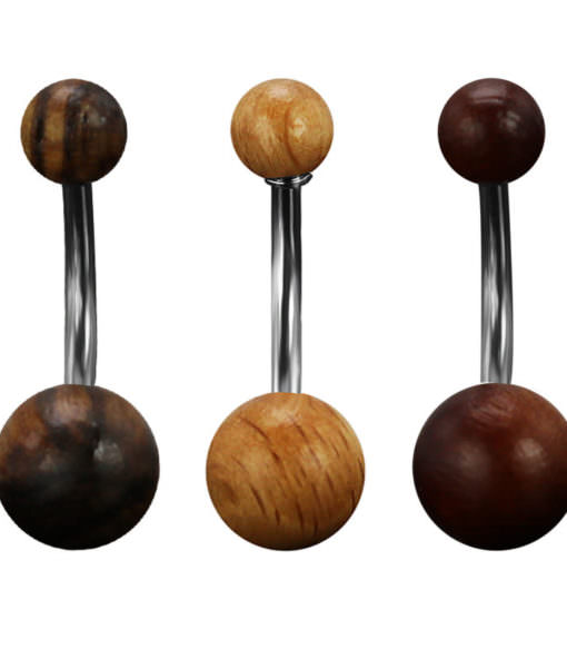 Elegant Polished Natural Wood Ball Belly Button Ring For Women - 3 Colors