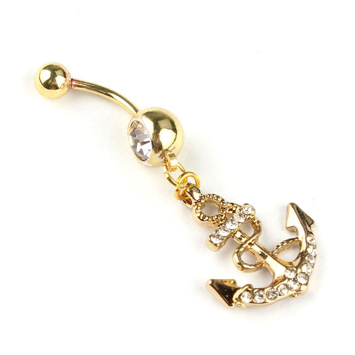 Bejeweled Golden Anchor Dangle Belly Button Bar Ring For Women