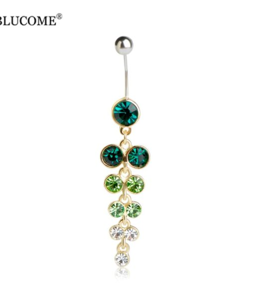 Exquisite Orchid Crystal Bouquet Long Pendant Navel Ring For Women - 3 Colors