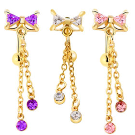 Dainty Stainless Steel Rhinestone Crystal Dangling Ribbon Bow Navel Ring For Women