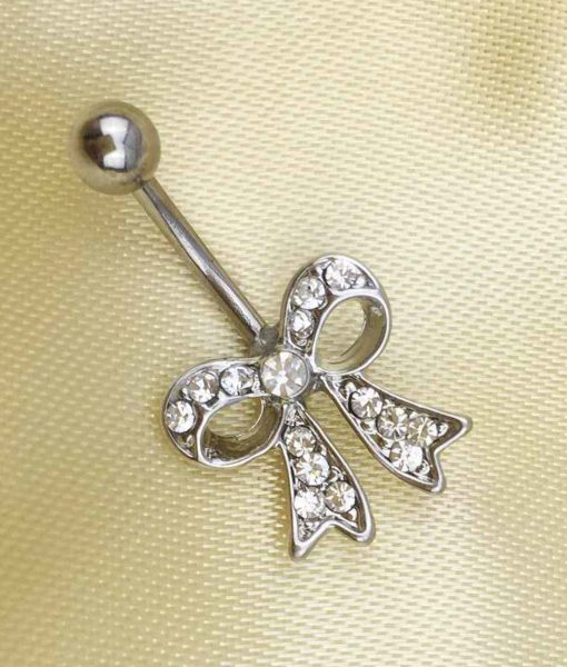 Bow Knot Style Crystal Navel Ring Belly Button Body Piercing Jewelry For Women