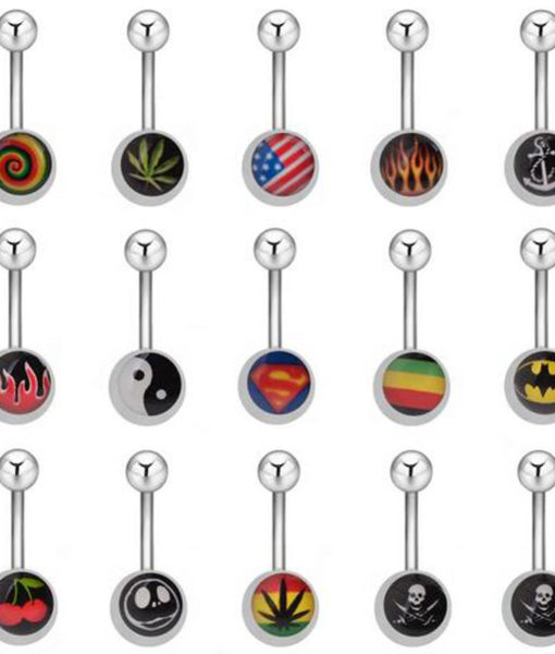 Premium Quality Stainless Steel Belly Button Bar Stud Ring - 14 Styles