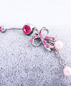 Sexy Butterfly Bow Dangling Belly Button Ring For Women - 2 Colors