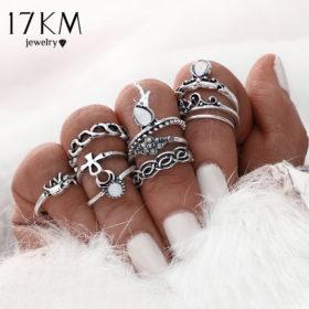 Fashionable Turkish Boho Vintage Punk Retro Style Midi Ring Set For Women - 2 Colors