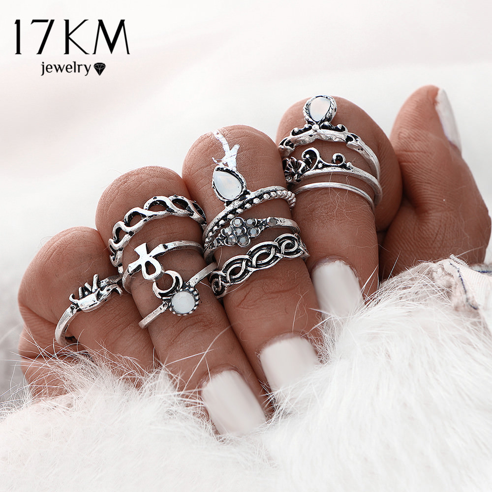 Fashionable Turkish Boho Vintage Punk Retro Style Midi Ring Set For Women - 2 Colors