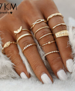 12-Pieces Fashionable Women Boho Punk Jewelry Midi Finger Ring Gift Set - 2 Colors
