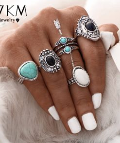 Women Bohemian Style 5-Pieces Antique Knuckle Ring Set With Stone Accents - 2 Colors