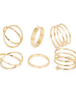 Posh 6-Pieces Cuff Finger Ring Gift Set For Women - 2 Colors