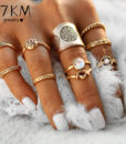 9-Pieces Antique Style Turkish Knuckle Ring Set For Women - 2 Colors