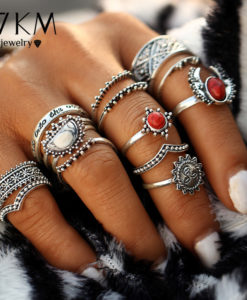 Hip 14-Pieces Tribal Boho Vintage Silver Moon And Sun Knuckle Ring Set For Women