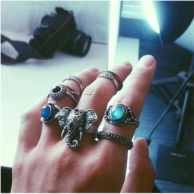 Stylish 10-Pieces Retro Boho Spirituality Knuckle Ring Set For Women - 4 Sets