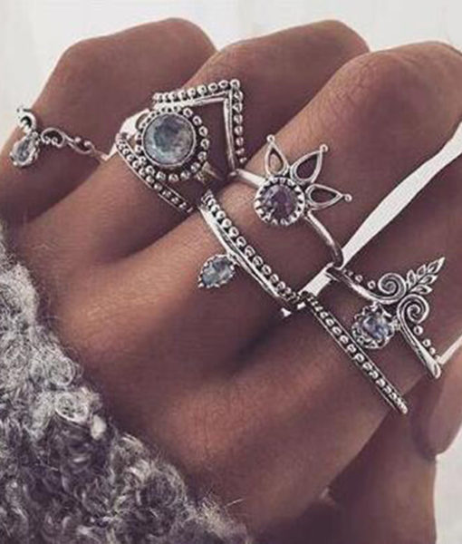 8-Pieces Bohemian Vintage Retro Lucky Stackable Midi Ring Set For Women - 2 Colors