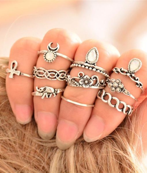 10-Pieces Unique Vintage Carved Spirituality Knuckle Ring Set For Women - 2 Colors