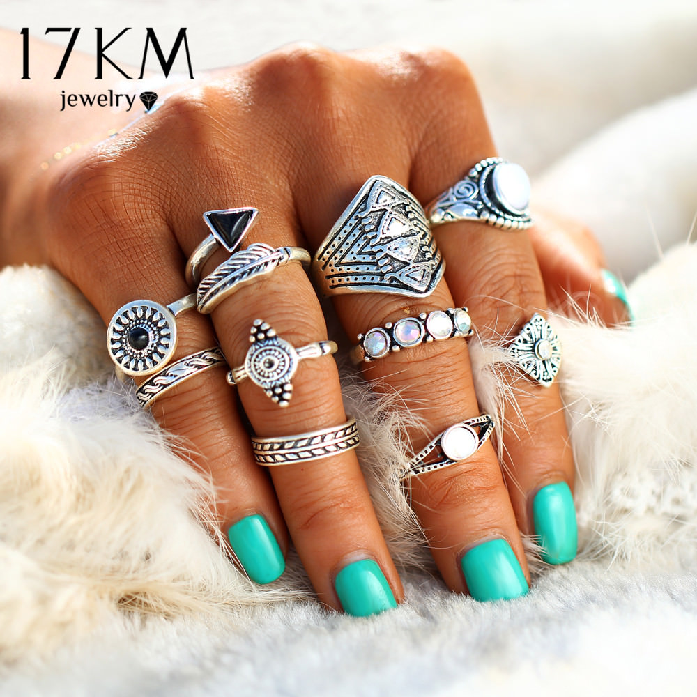 Tribal Fashion 10-Pieces Vintage Midi Ring Set With Opal Stones - 2 Colors