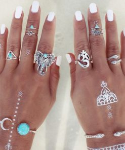 Fashionable 8-Pieces Boho Retro Spirituality Symbols Stackable Midi Ring Set