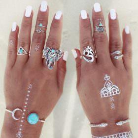 Fashionable 8-Pieces Boho Retro Spirituality Symbols Stackable Midi Ring Set