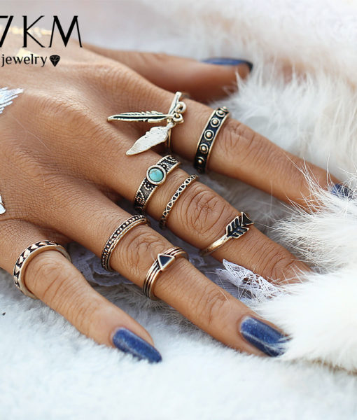 Women 8-Pieces Gold Tone Retro Antique Punk Style Spirituality Lucky Knuckle Ring Set