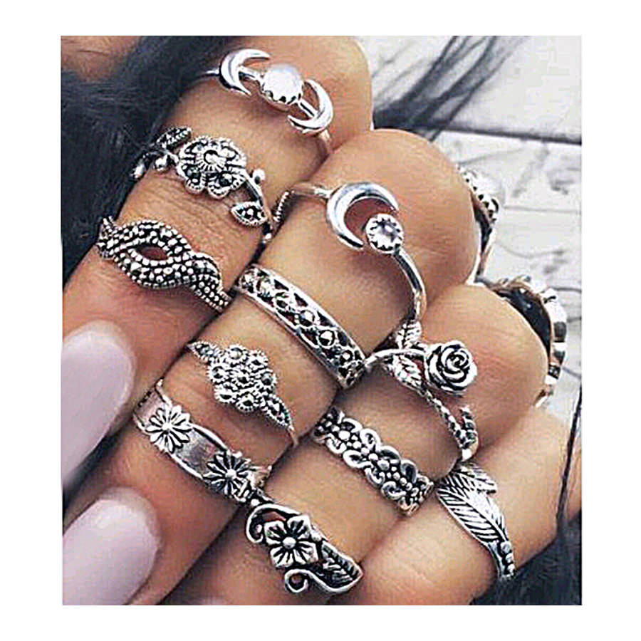 11-Pieces Boho Chic Spirituality Silver Plated Antique Stackable Ring Set - 9 Sets