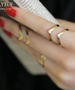 3-Pieces Dazzling Gold Adjustable Cuff Finger Ring Gift Set For Women