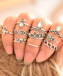 Bohemian 10-Pieces Opal Vintage Knuckle Ring Set For Women - 2 Colors