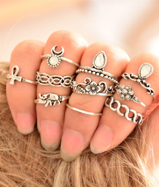 Bohemian 10-Pieces Opal Vintage Knuckle Ring Set For Women - 2 Colors