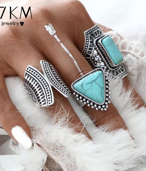 Boho Style 3-Pieces Vintage Punk Knuckle Ring Set For Women - 2 Colors