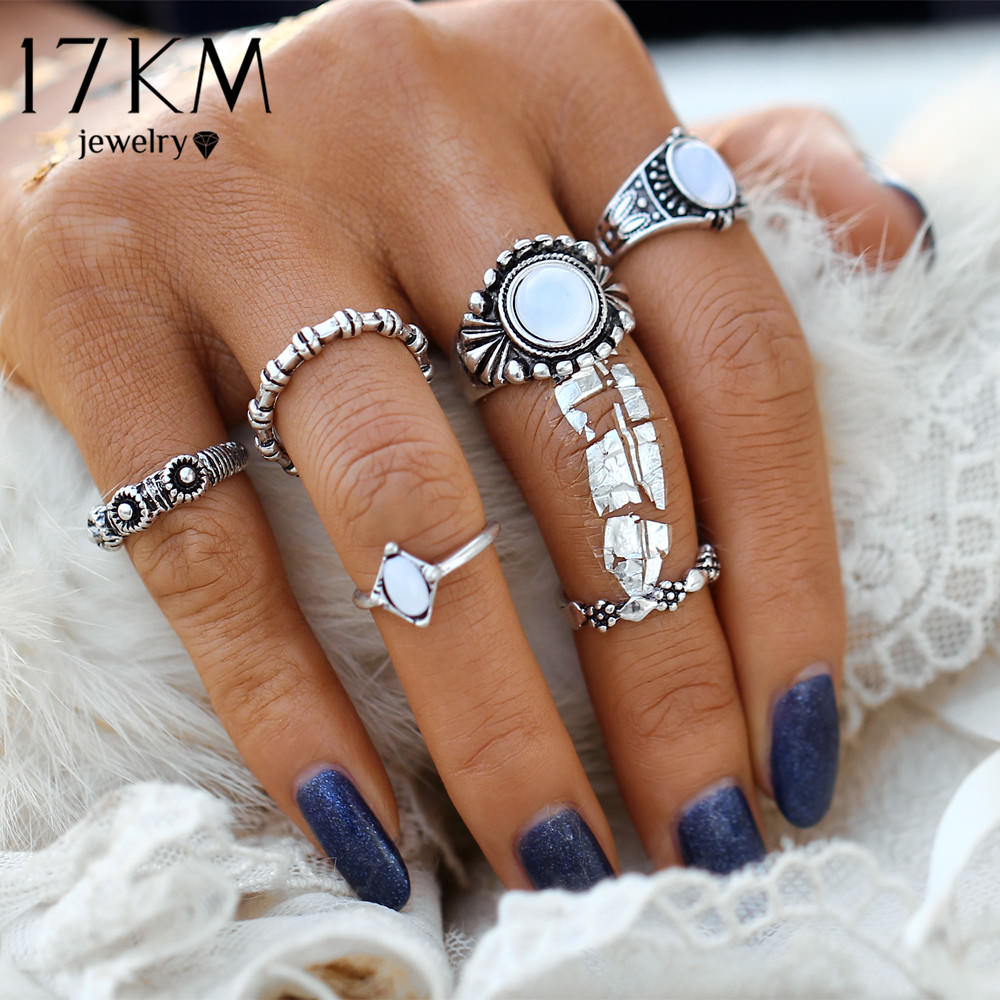 6-Pieces Boho Ethnic Vintage Turquoise/Opal Knuckle Ring Set For Women - 2 Styles