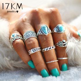 10-Pieces Vintage Tibetan Turquoise Knuckle Ring Set For Women - 2 Colors
