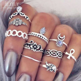 Bohemian Fashion Vintage Rings Jewelry Set For Women - 10 Pieces