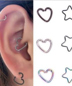 Women's Stainless Steel Heart/Star Lip Hoop Earring For Seamless Piercing Fashion - 2 Styles